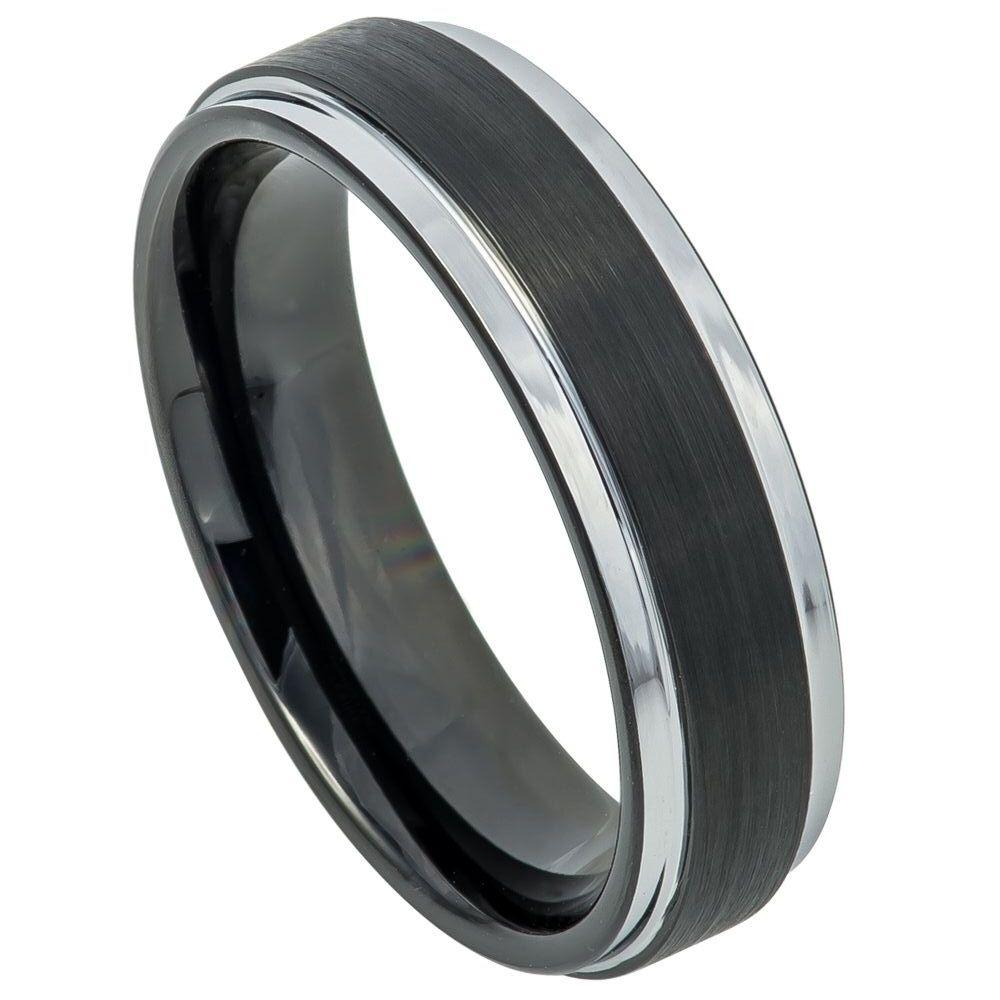 Two-tone Black IP Brushed Center & Steel Color Stepped Edge - 6mm