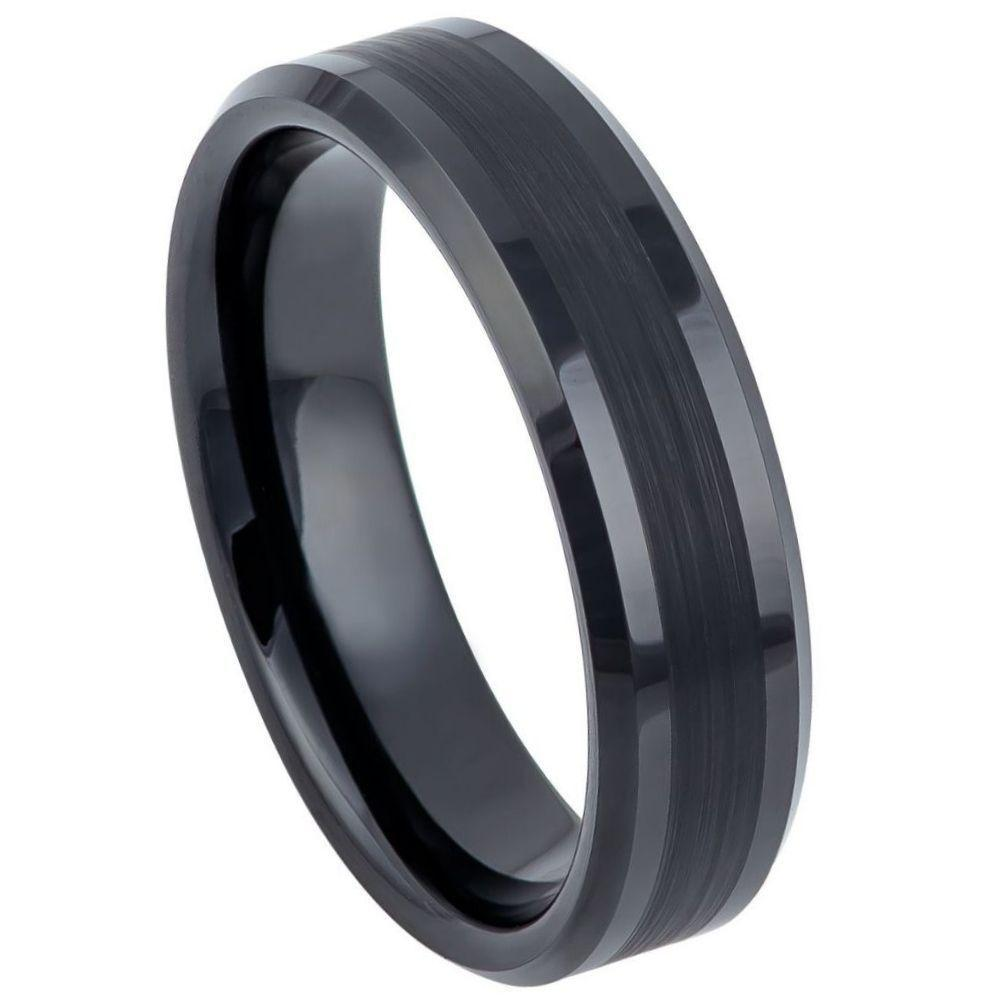 Black IP Plated Brushed Center Shiny Lines on each side Beveled Edge - 6mm