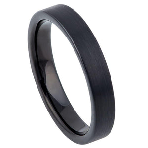 Black IP Plated Brushed Pipe Cut Band - 4mm