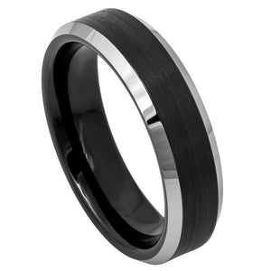 Black IP Plated Brushed Center High Polished Steel Color Beveled Edge - 6mm
