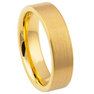YELLOW GOLD IP Plated Brushed Pipe Cut Band - 6mm