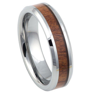 High Polished with Mahogany Wood Inlay Beveled Edge - 6mm