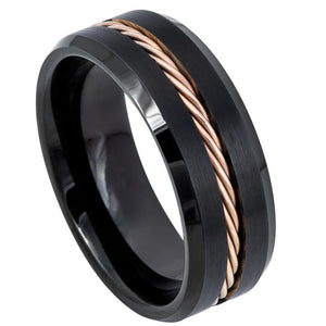 Black IP with Rose Gold IP Plated Rope Inlay - 8mm