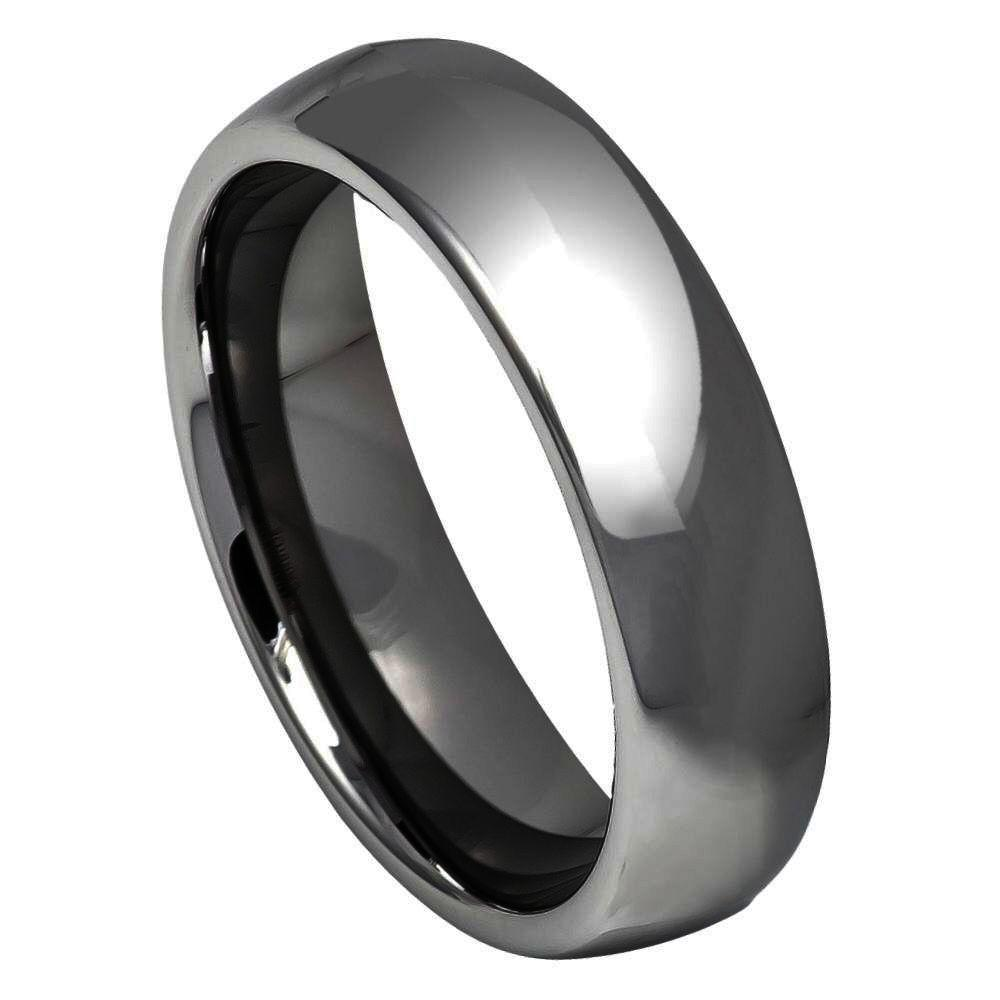 High Polished Shiny Gun Metal IP Plated Classic Domed Ring - 6mm