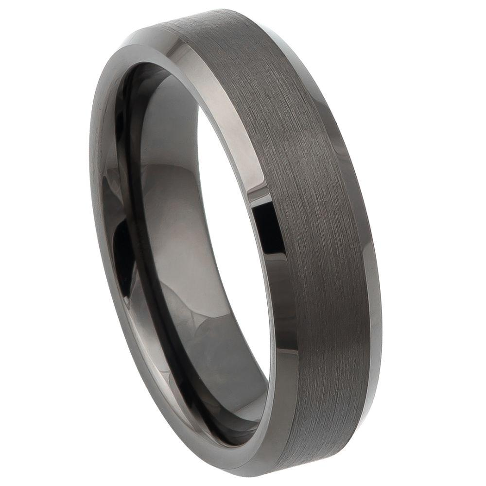 Gun Metal IP Plated Brushed Center Shiny Beveled Edge 6mm