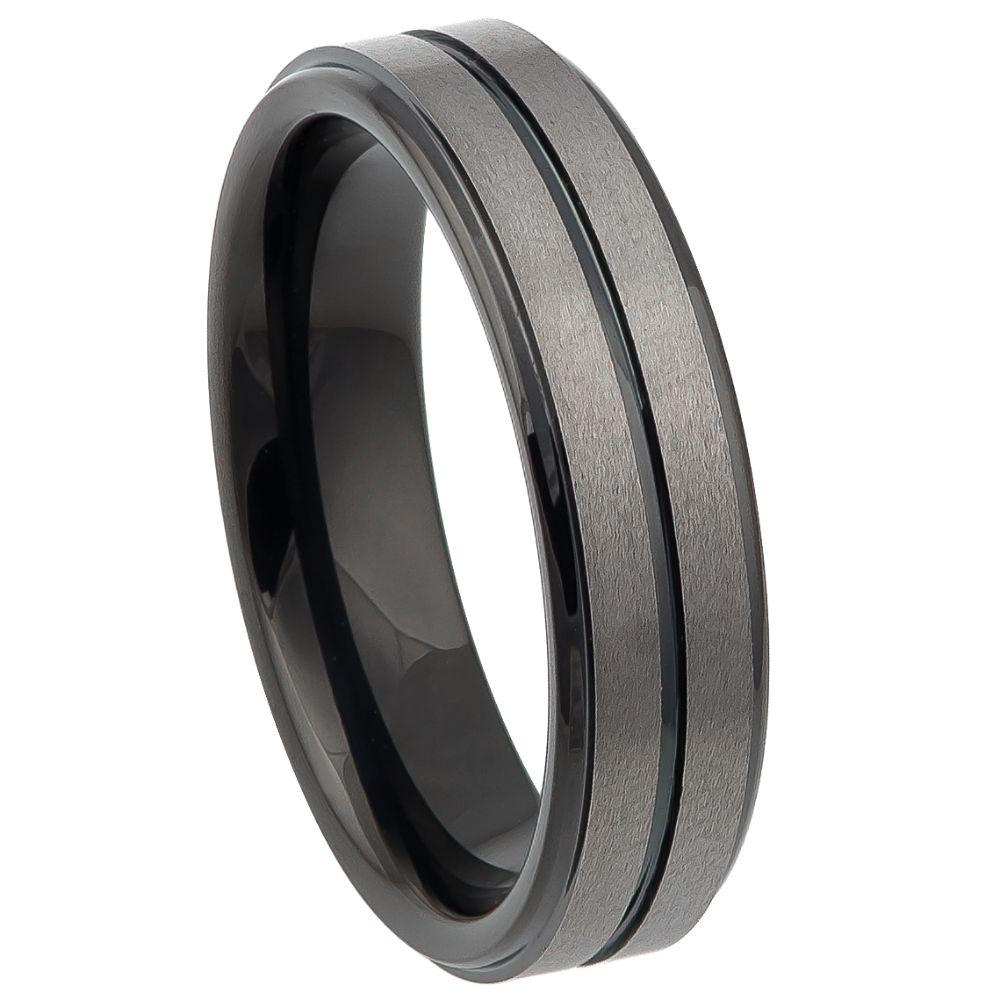 Two-tone Black IP Plated Center Grooved Brushed Finish Stepped Edge - 6mm