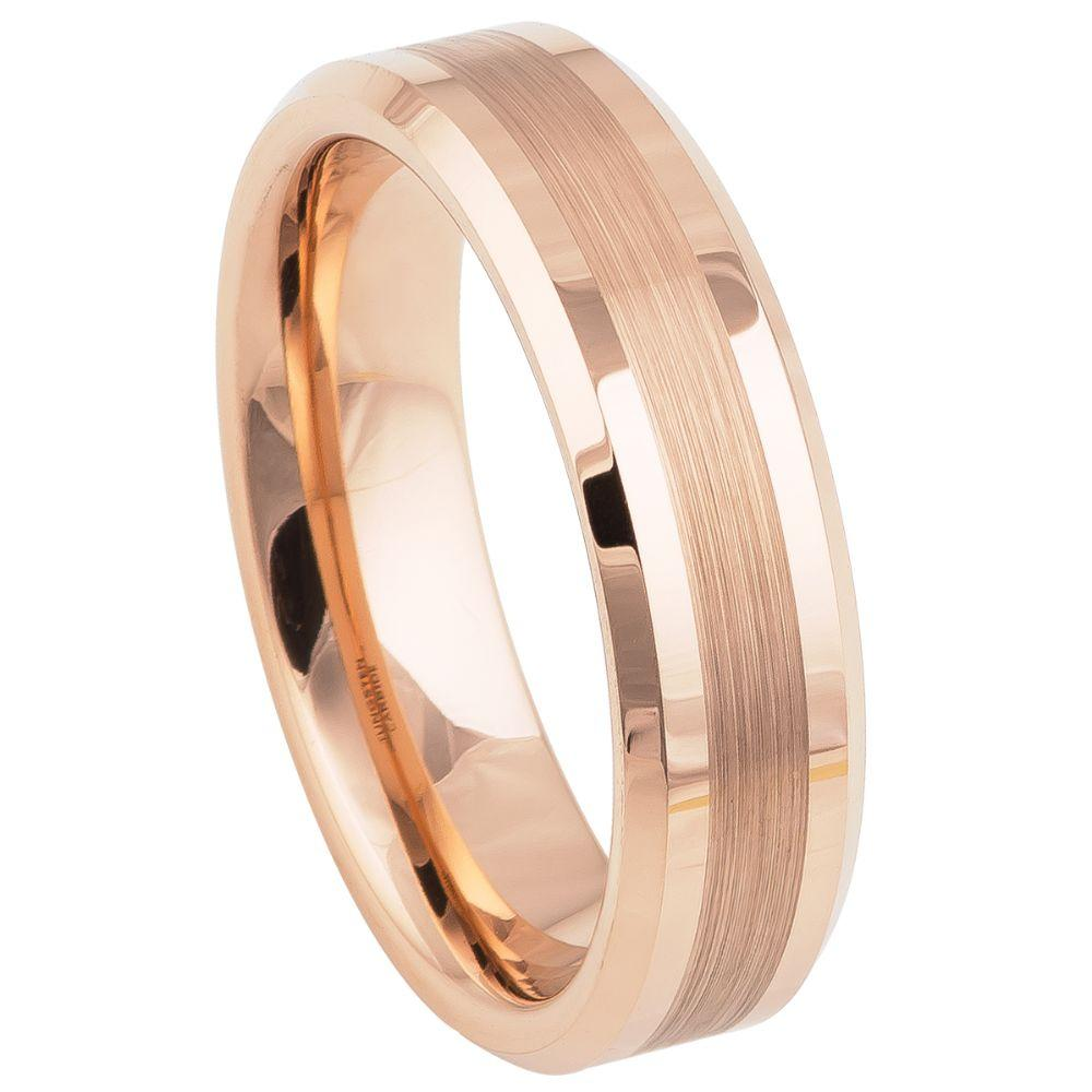 Rose Gold IP Plated Brushed Center High Polish Beveled Edge - 6mm