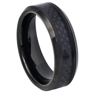 Black IP Plated with Black Carbon Fiber Inlay Beveled Edge - 6mm
