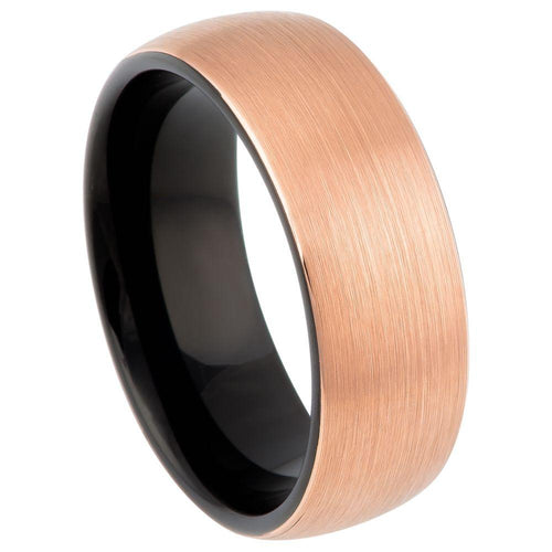 Brush Rose Gold Plated Top Finish & Black Plated Inner Ring - 8mm