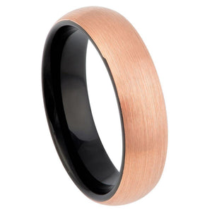 Brush Rose Gold Plated Top Finish & Black Plated Inner Ring - 6mm
