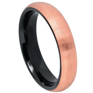Brush Rose Gold Plated Top Finish & Black Plated Inner Ring - 4mm
