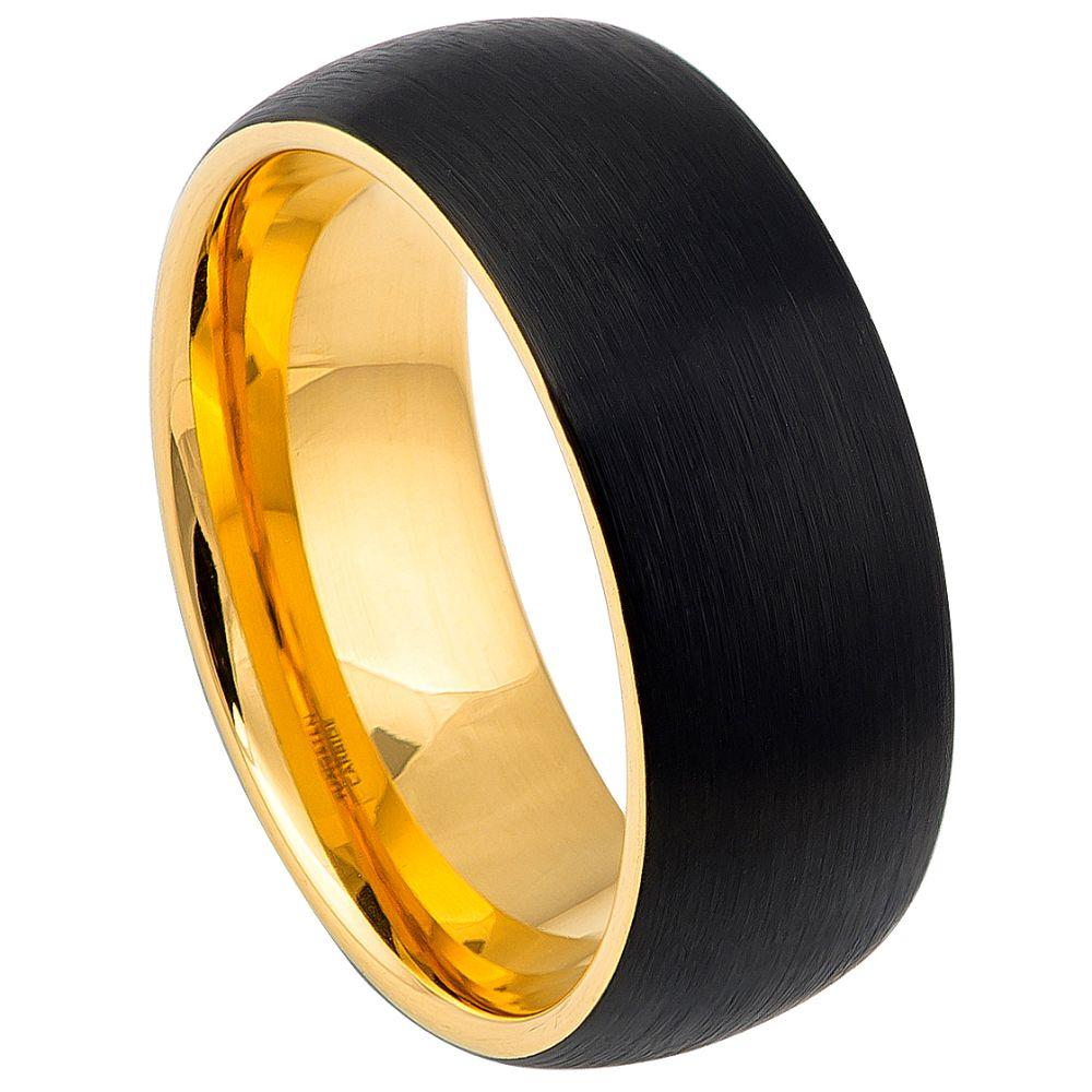 Domed Yellow Gold IP Plated Inside & Black IP Plated Brushed Center - 8mm
