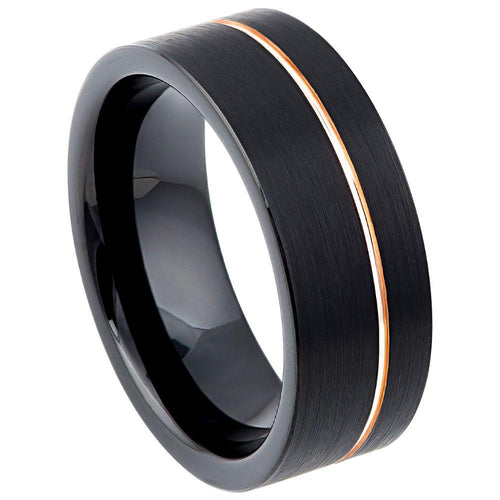 Black IP Plated with Off Center Rose Gold Plated Groove - 8mm