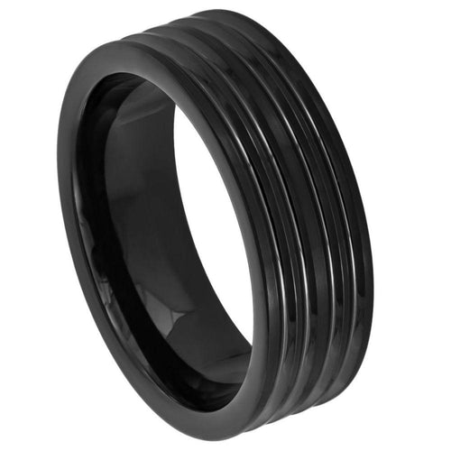 Black IP Plated with Grooved Lines - 8mm