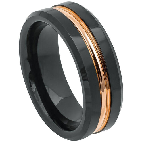 Black Ring with Rose Gold Plated Grooved Center - 8mm