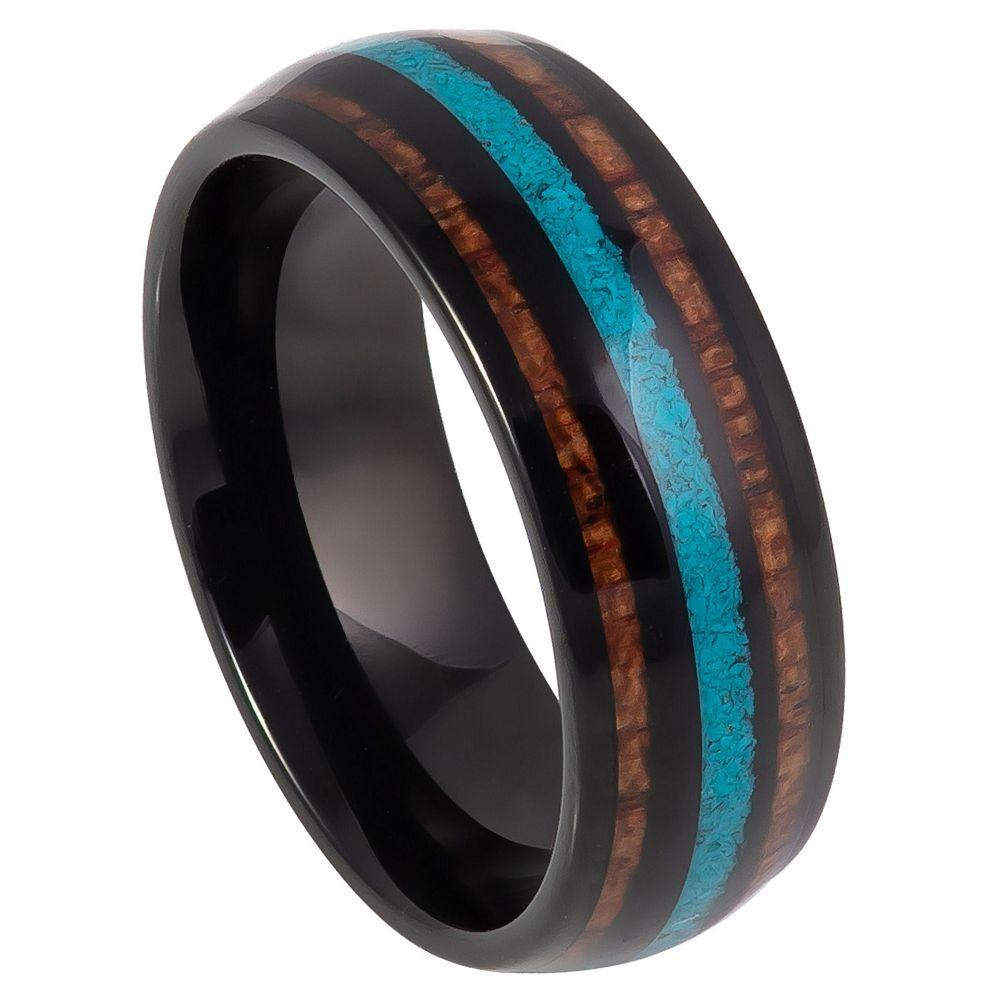 Black IP Plated with Koa Wood & Crushed Turquoise Inlay - 8mm
