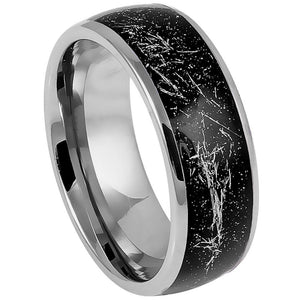 Domed Ring with Imitation Meteorite on Black Carbon Fiber Inlay - 8mm