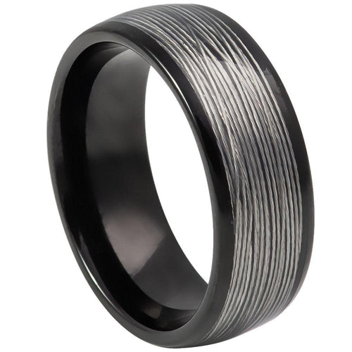 Domed Black IP Plated Rolled Wire Inlay- 8mm