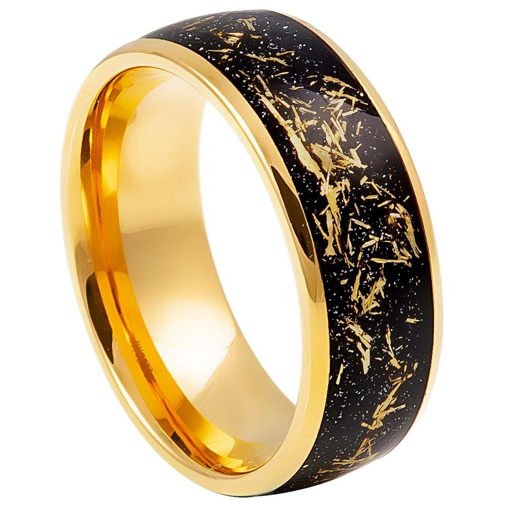 Yellow Gold IP Plated with Imitation Meteorite Inlay - 8mm