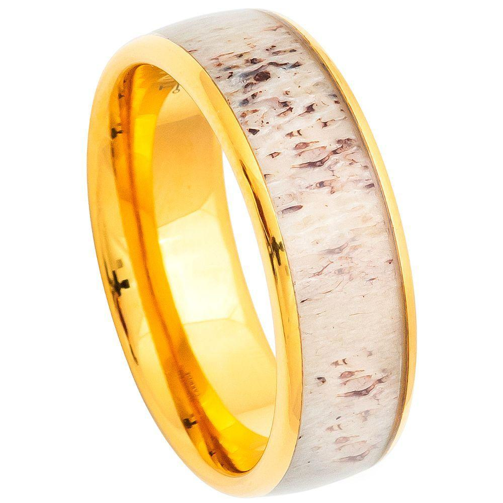 Domed Yellow Gold IP Plated Real Deer Antler Inlay - 8mm