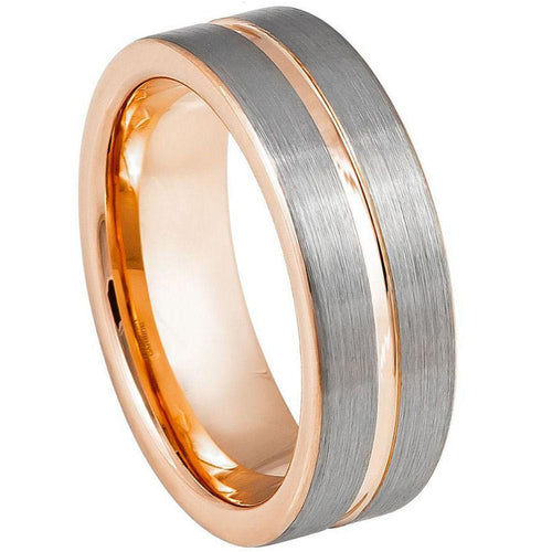 Rose Gold IP Plated Inside & Groove Brushed Center - 8mm