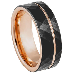 Rose Gold & Black IP Plated Faceted Groove - 8mm
