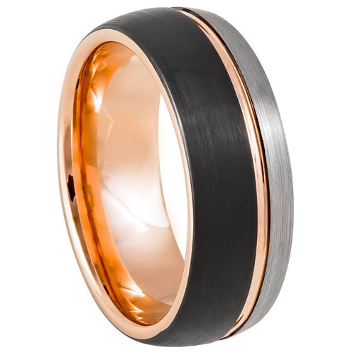 Three-tone Natural, Rose Gold & Black IP Plated Groove - 8mm