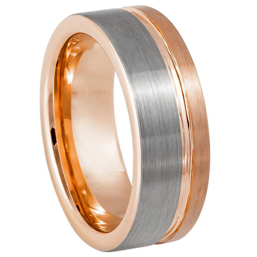 Grooved Rose Gold IP Plated Brushed Pipe Cut Ring - 8mm