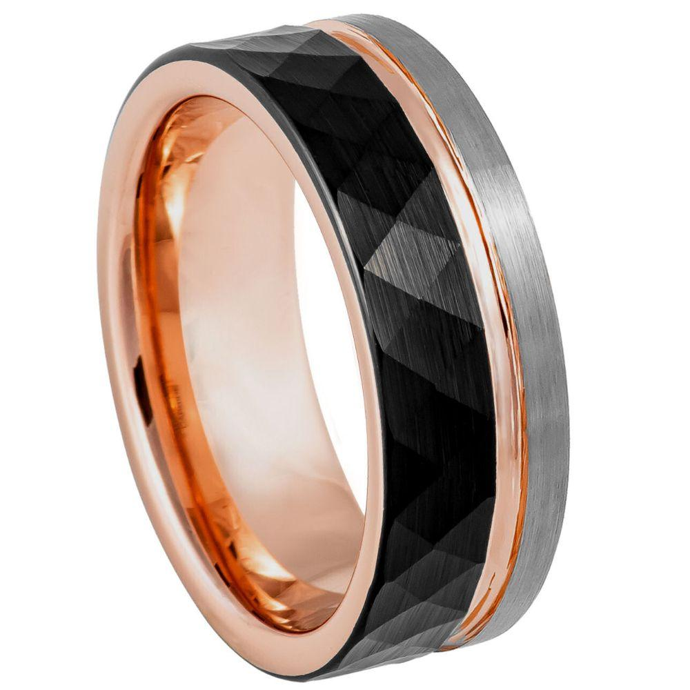 Three-tone Natural, Rose Gold & Hammered Black IP Plated Groove - 8mm