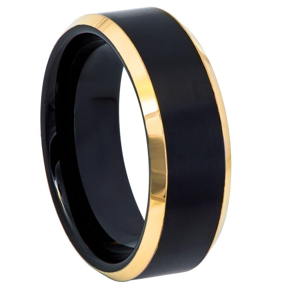 Black & Yellow Gold IP Brushed Center Beveled Edge - 8mm