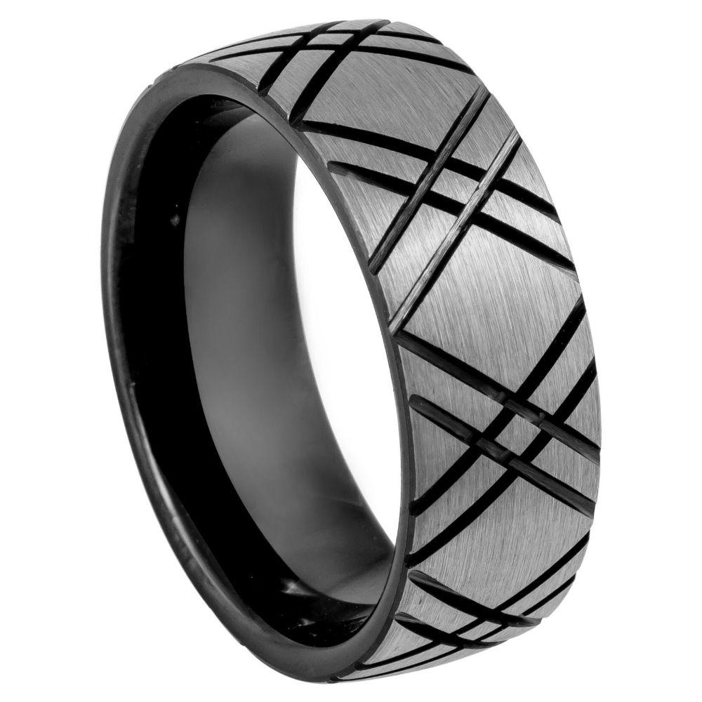Double X carved design Black IP Plated Inside - 8mm