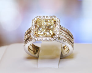 Fancy Yellow Diamond 2.06 Carat Princess Cut 18 Karat White Gold Ladies Ring Custom Made by Danhov - BRI01021