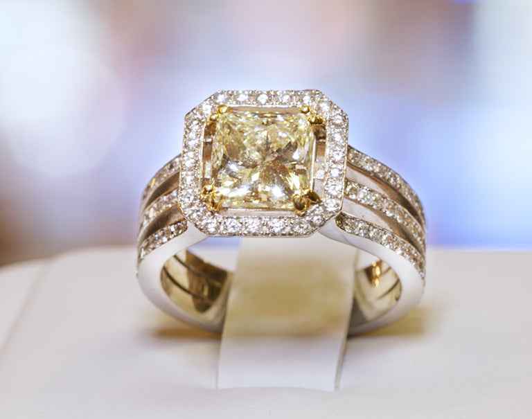 Fancy Yellow Diamond 2.06 Carat Princess Cut 18 Karat White Gold Ladies Ring Custom Made by Danhov