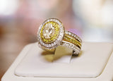 18k Two-Tone Oval 1.01ct Diamond Engagement Ring - BRI01229