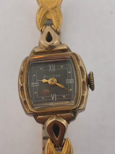 Ladies Vintage Bulova 10k Gold Filled Watch 17 Jewels Brown Dial