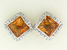 Load image into Gallery viewer, Halo Citrine Earrings, 18k White Gold - Le Vive Jewelry in Riverside