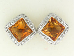 Halo Citrine Earrings, 18k White Gold - Le Vive Jewelry in Riverside
