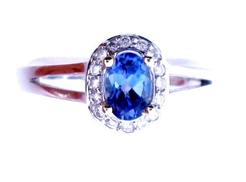 Oval Cut Tanzanite Ring, 18k White Gold - Le Vive Jewelry in Riverside
