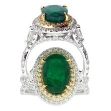 Load image into Gallery viewer, Emerald & Diamond, 18k White Gold Ring - Le Vive Jewelry in Riverside