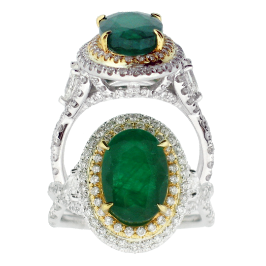 Emerald & Diamond, 18k White Gold Ring - Le Vive Jewelry in Riverside