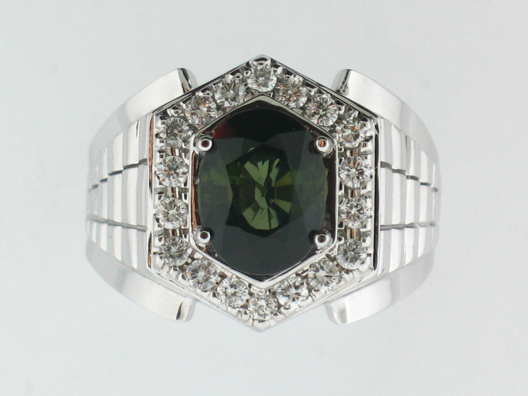 Green Tourmaline Custom Made Men's Ring - Le Vive Jewelry in Riverside