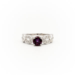 18k White Gold  Round Alexandrite And Diamond Ring