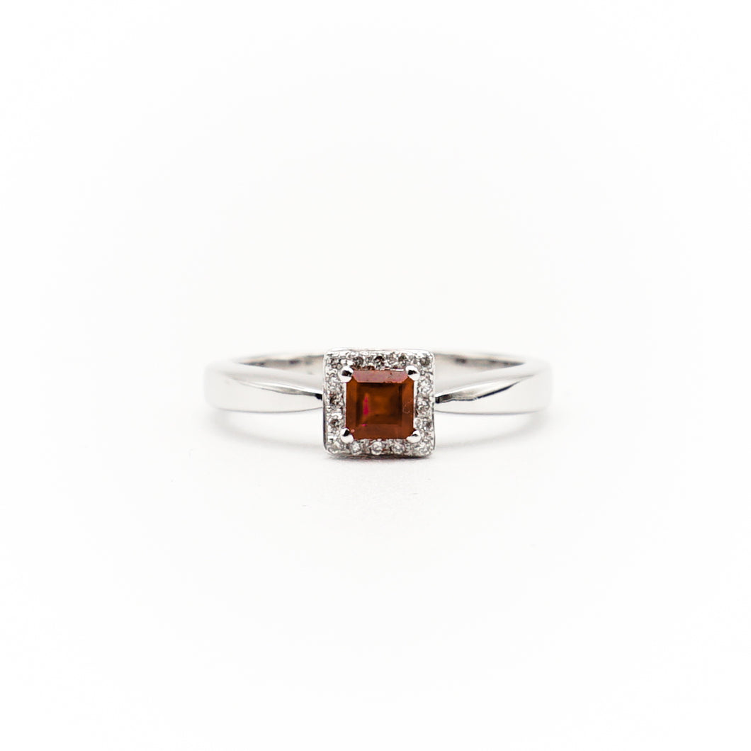 18k White Gold Petite Ruby and Diamond Ring