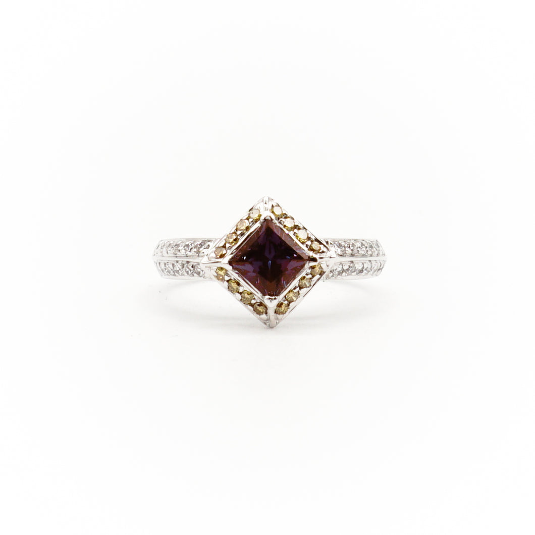 18k White Gold  Princes-Cut Alexandrite And Diamond Halo Ring