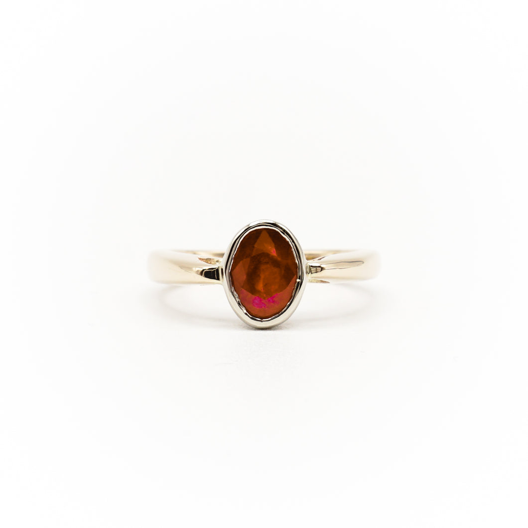 14k Two Tone Gold Oval Ruby Ring