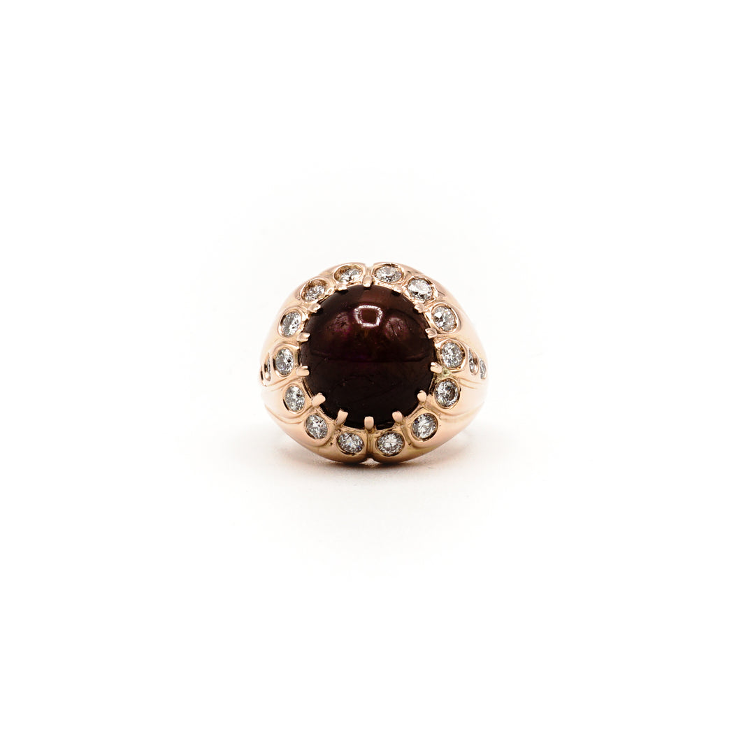 14k Rose Gold Custom Natural Star Ruby and Diamond Ring