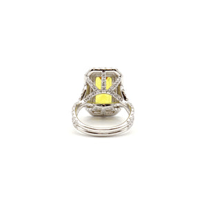 Yellow Sapphire & Diamond Master Piece Ladies Ring, 14 Karat White Gold