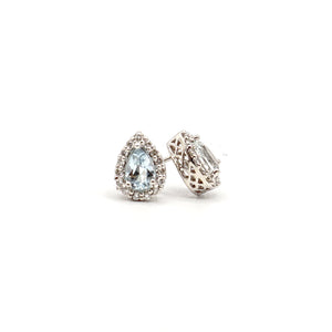 Aquamarine Earrings, 6x4mm pear shape, 14 Karat White Gold