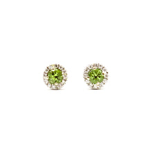 Load image into Gallery viewer, Peridot Earrings, 18 Karat White Gold