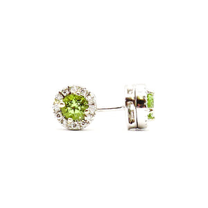 Peridot Earrings, 18 Karat White Gold